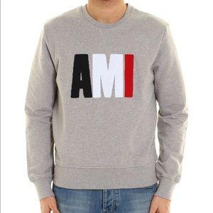 AMI Alexandre Matiussi gray terry logo sweatshirt